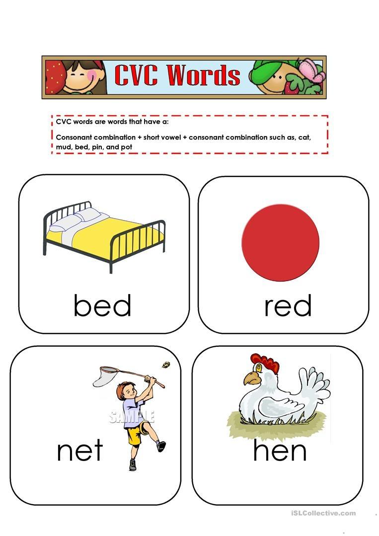 Cvc Words Flashcards Worksheet - Free Esl Printable Worksheets Made - Free Printable Cvc Words With Pictures