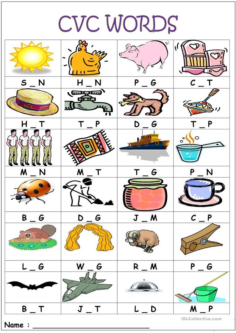 Cvc Words- Medial Sounds Worksheet - Free Esl Printable Worksheets - Free Printable Cvc Words With Pictures