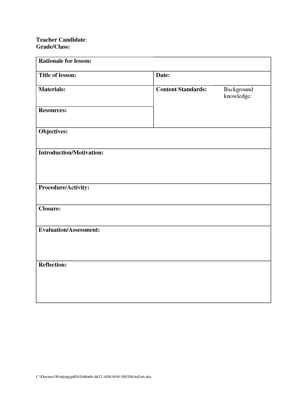 Daily Lesson Plan Template Blank Lesson Plan Template For New - Free Printable Daily Lesson Plan Template
