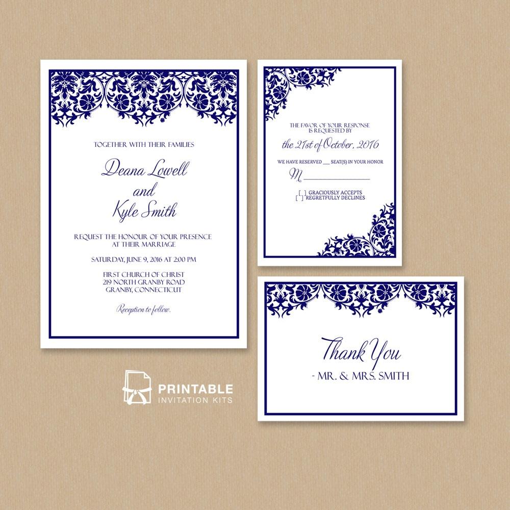 Damask Frame Wedding Invitation Templates – Set ← Wedding - Free Printable Wedding Invitation Kits
