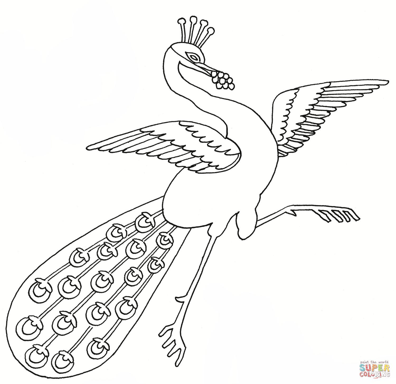 Dancing Peacock Coloring Page   Free Printable Coloring Pages - Free Printable Peacock Pictures
