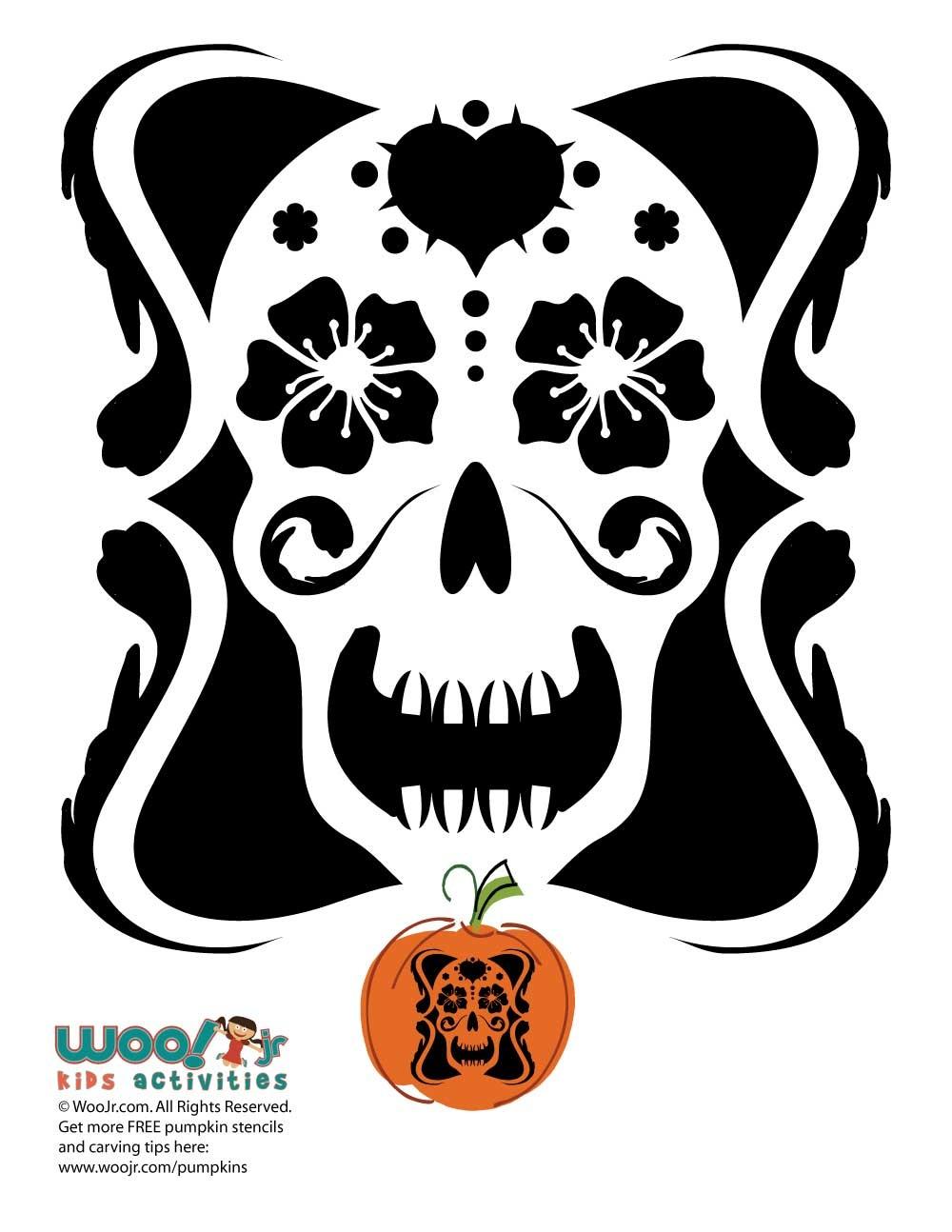 Day Of The Dead Pumpkin Carving Stencils   Woo! Jr. Kids Activities - Free Printable Sugar Skull Pumpkin Stencils