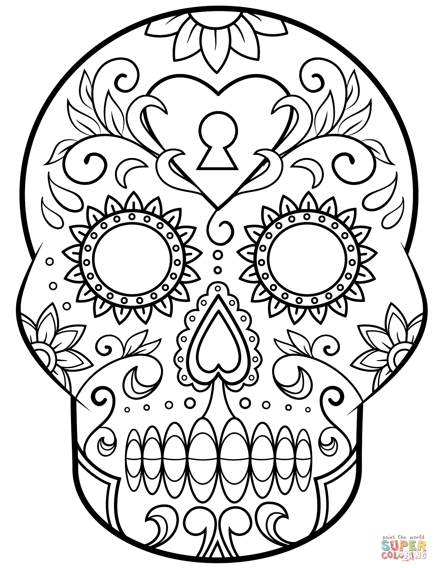 Day Of The Dead Sugar Skull Coloring Page   Free Printable - Free Printable Day Of The Dead Coloring Pages