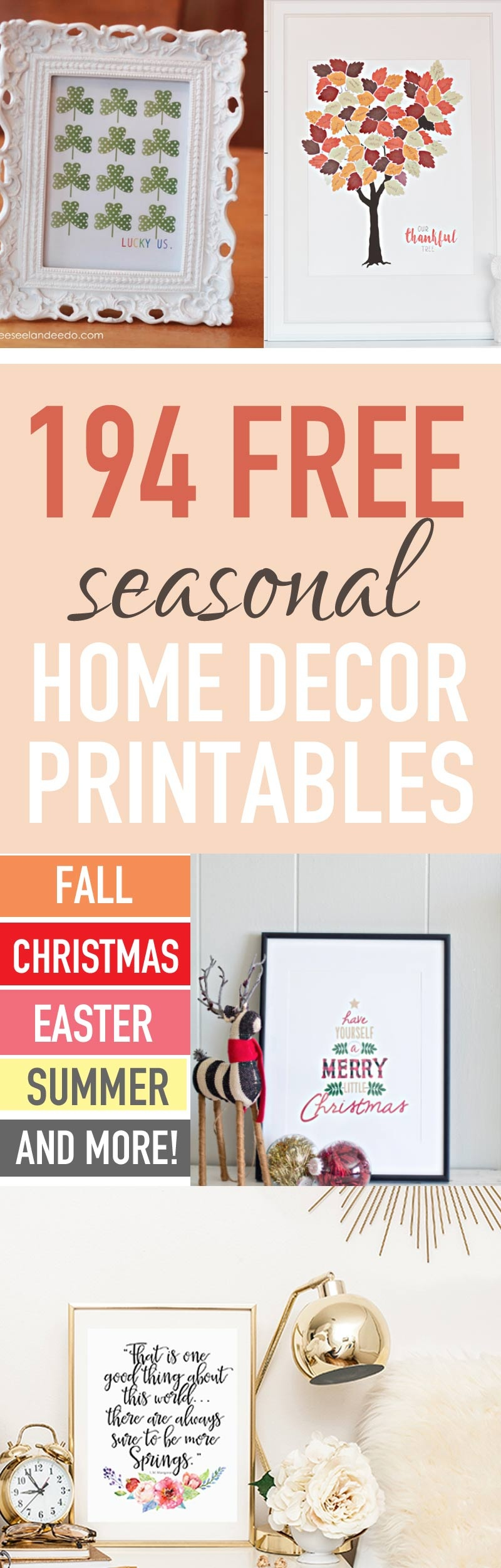 Decorate Your Home Seasonally For Free (250+ Free Home Decor - Free Printables For Home Decor