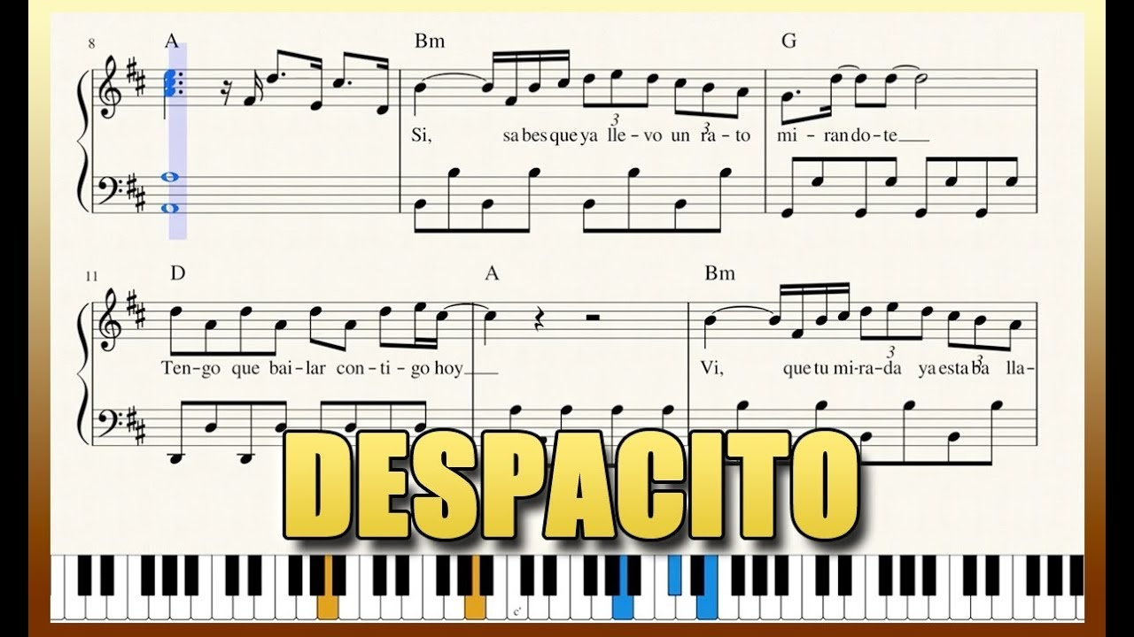 "Despacito"" - Piano Tutorial + Free Sheet Music With Lyrics - Luis - Free Printable Sheet Music Lyrics"