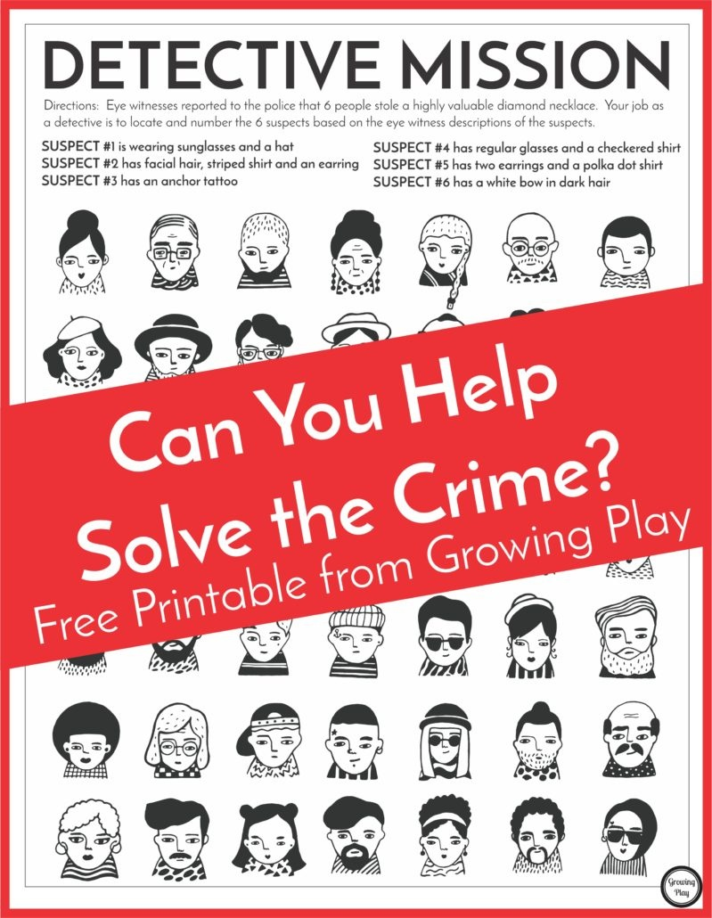 Detective Puzzle For Kids - Free Printable - Growing Play - Free Printable Mystery Games