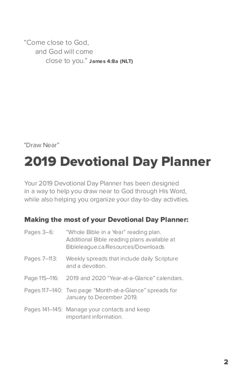 Devotional Day Planner, 2019: Bulk - Bible League Canada - Free Printable Bible Lessons For Youth Kjv