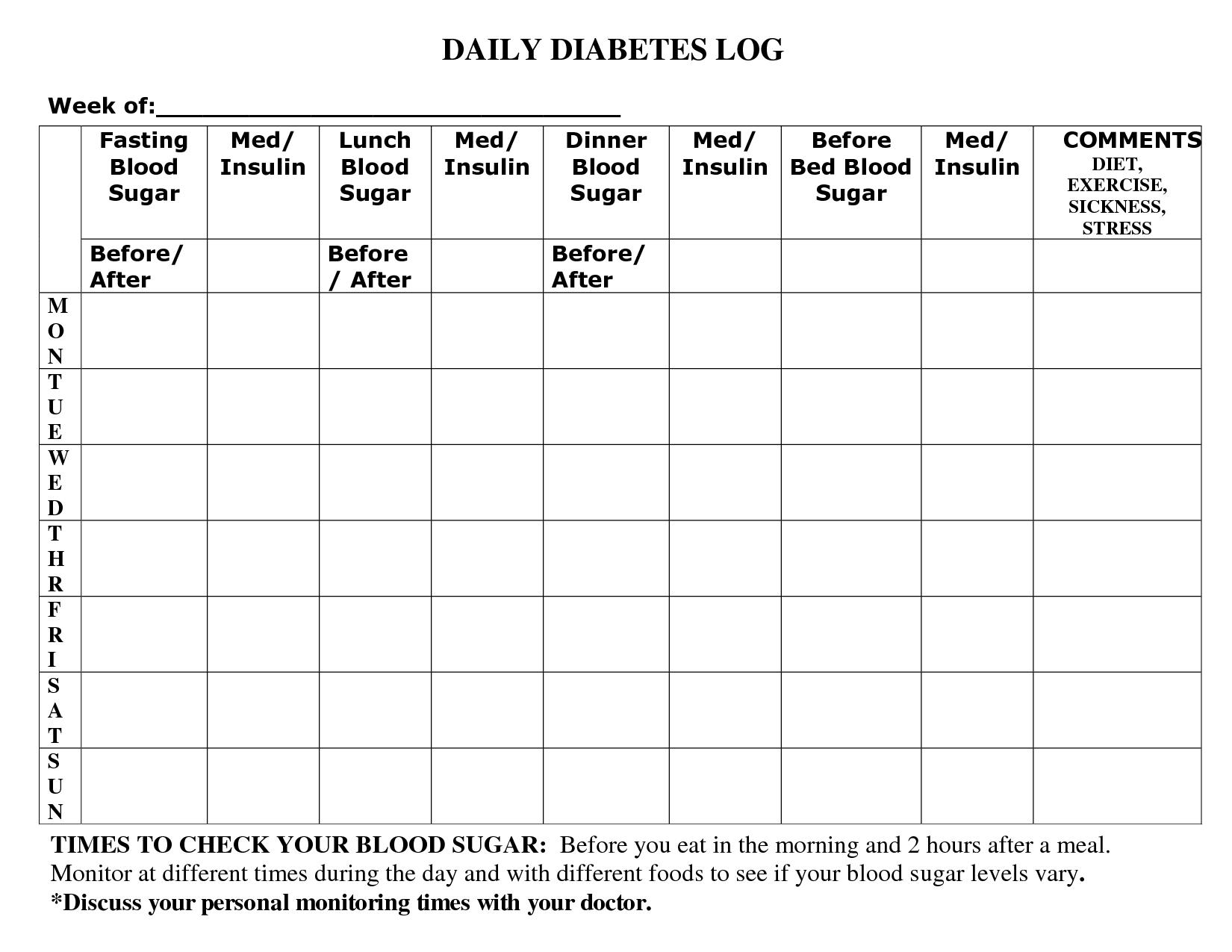 Diabetes+Blood+Sugar+Log+Sheet+Printable | Sugar In 2019 | Blood - Free Diabetic Log Book Printable