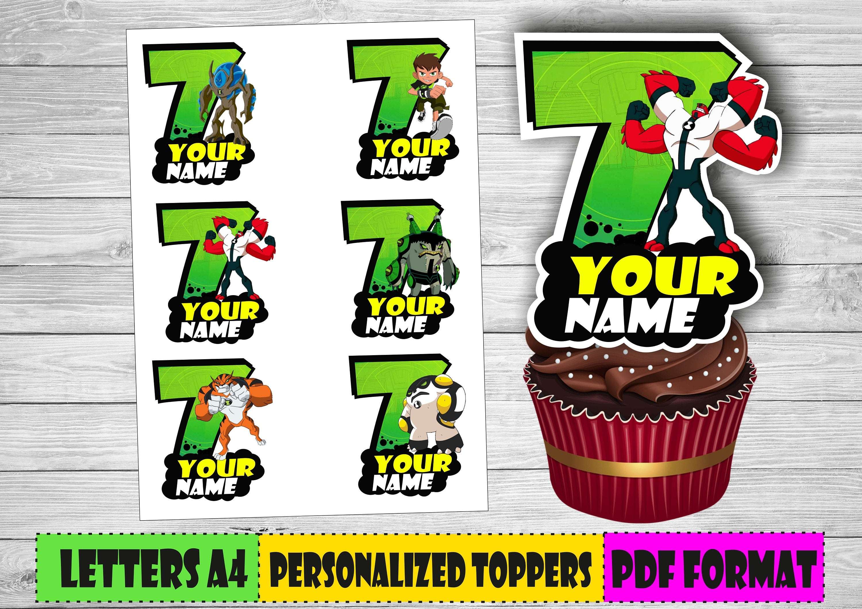 Digital Ben 10 Personalized Cupcake Toppers Ben Ten Party   Etsy - Free Printable Ben 10 Cupcake Toppers