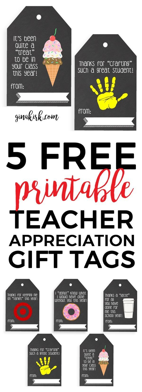 Digital Download: Teacher Appreciation Tags | Teacher Appreciation - Teacher Gift Tags Printable Free