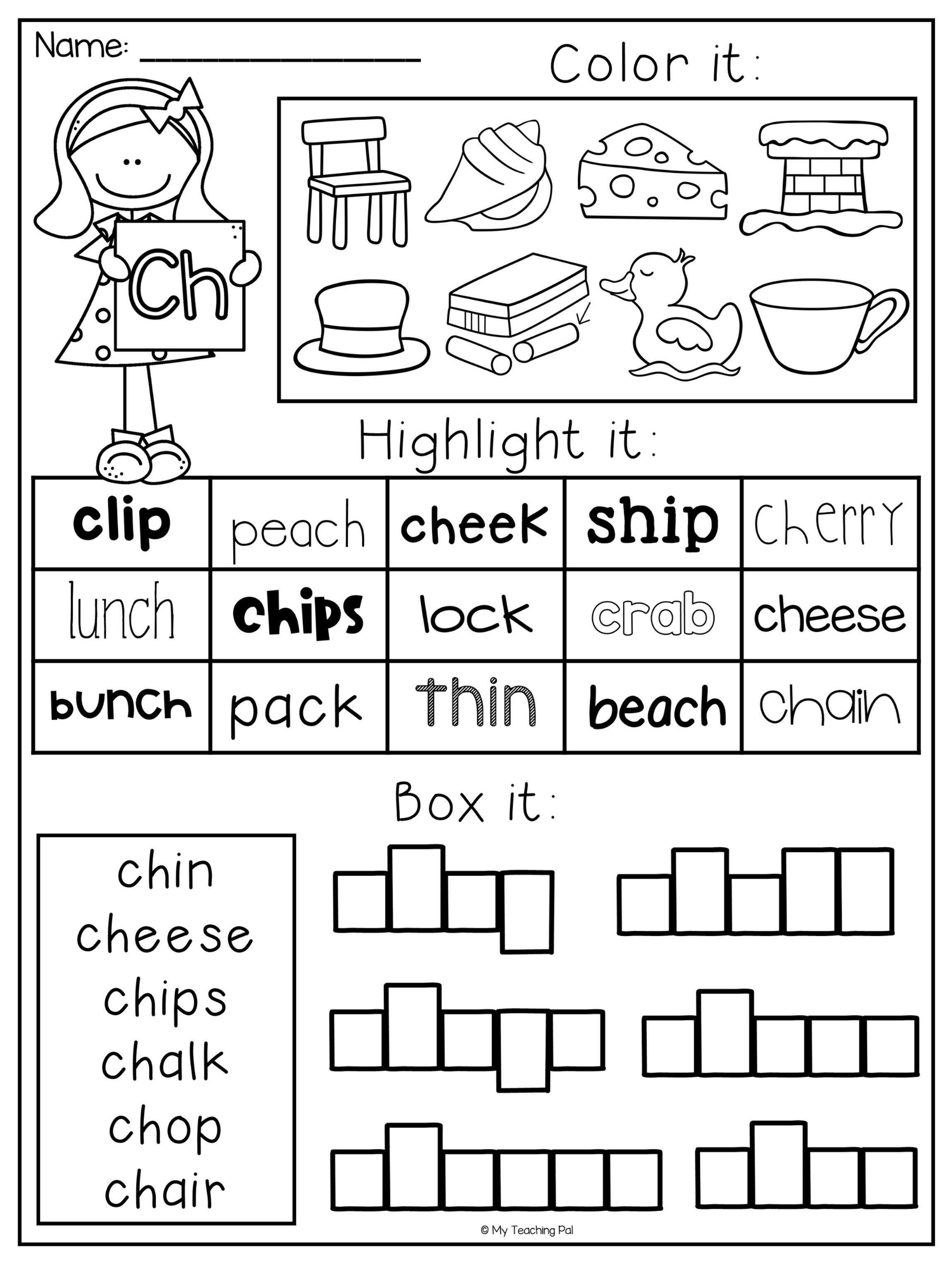 Digraph Worksheet Packet - Ch, Sh, Th, Wh, Ph | Educational - Sh Worksheets Free Printable