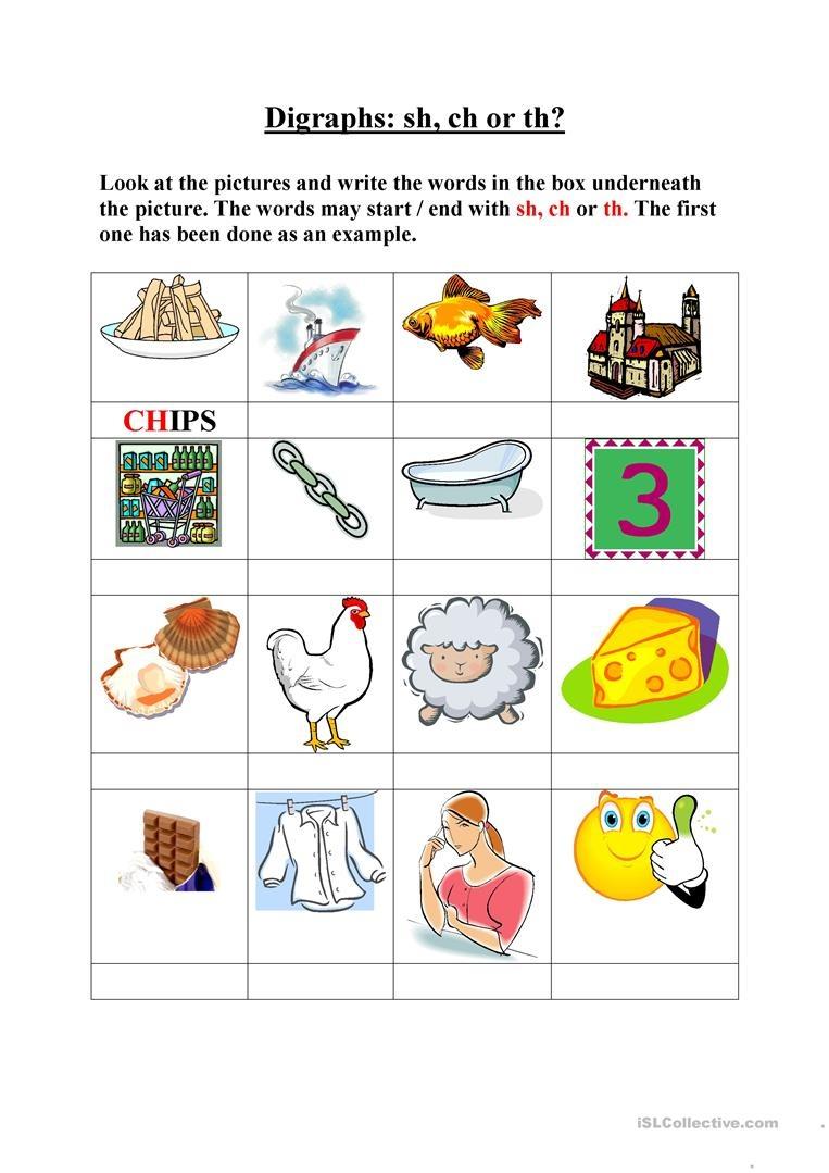Digraphs, Sh, Ch, Th Worksheet - Free Esl Printable Worksheets Made - Free Printable Ch Digraph Worksheets