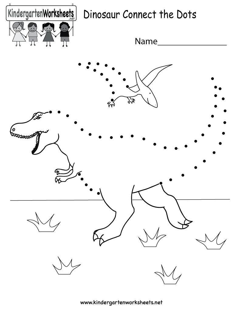 Dinosaur Connect The Dots - Free Kindergarten Learning Worksheet For - Free Printable Dinosaur Activities For Kindergarten