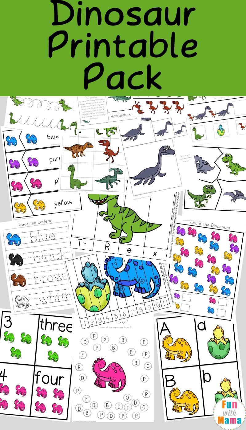 Dinosaur Preschool Printable Pack - Fun With Mama - Free Printable Dinosaur Activities For Kindergarten