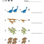 Dinosaurs Subtraction Worksheet For Kindergarteners. This Would Be   Free Printable Dinosaur Activities For Kindergarten