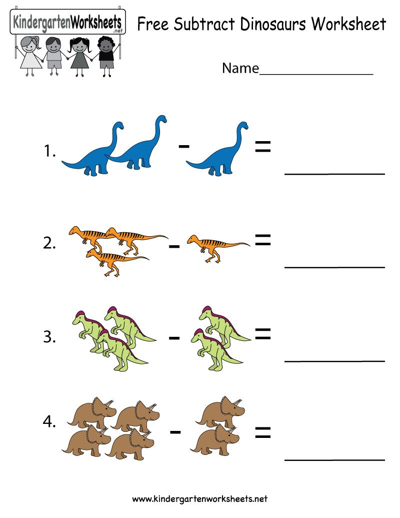 Dinosaurs Subtraction Worksheet For Kindergarteners. This Would Be - Free Printable Dinosaur Activities For Kindergarten
