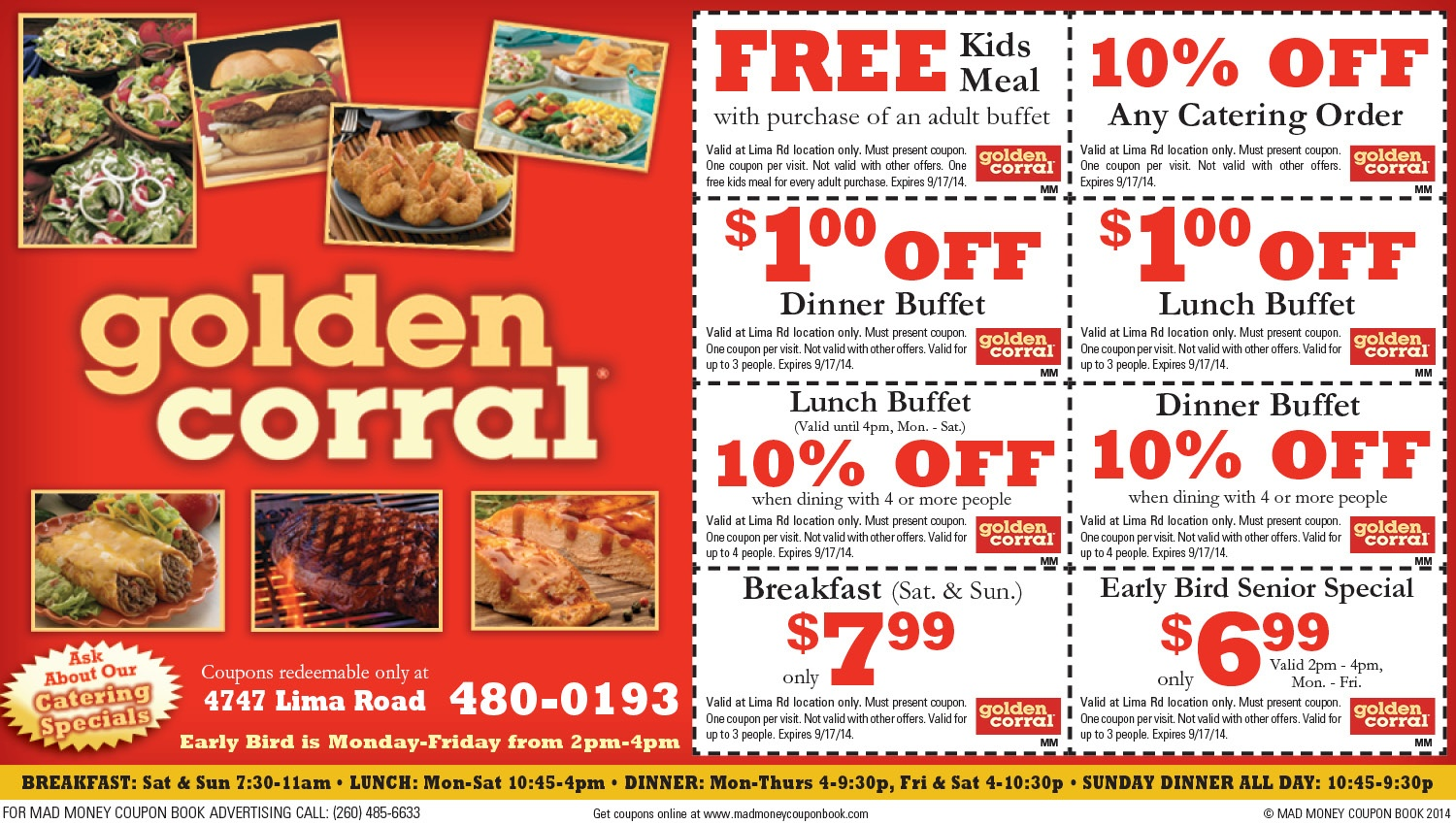 Discounts-And-Coupons - Fort Wayne, In - Golden Corral Buffet &grill - Golden Corral Coupons Buy One Get One Free Printable