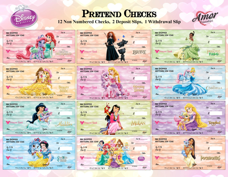 Disney Princess Pretend Play Checks Disney Printables Party | Etsy - Free Printable Play Checks