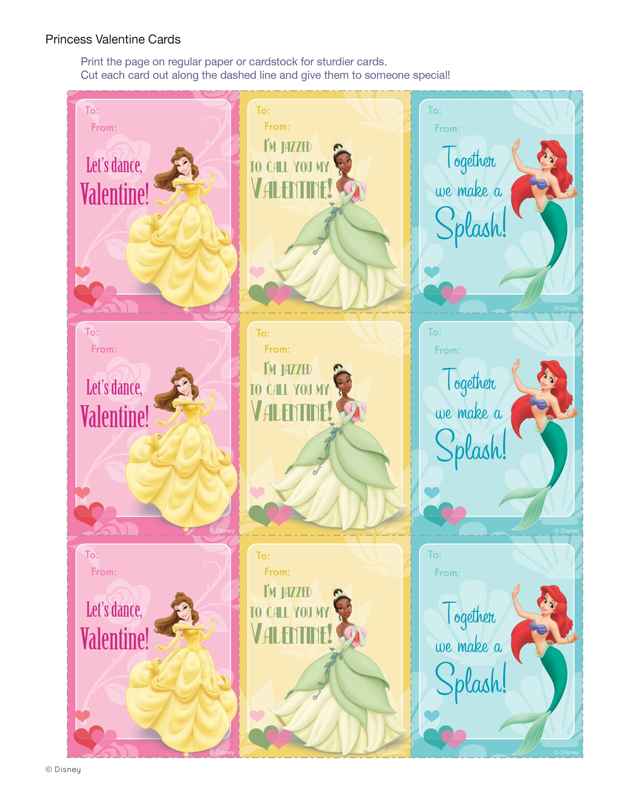Disney Princess Valentine Cards | Daughter In A Nutshell | Printable - Free Printable Valentines Day Cards For My Daughter