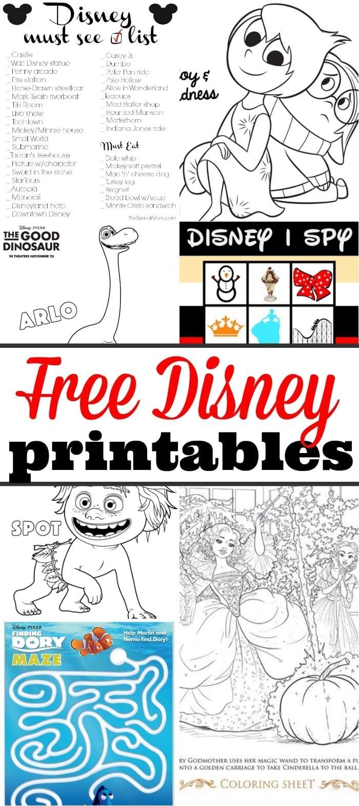 Disney Printables · The Typical Mom - Free Disney Printables