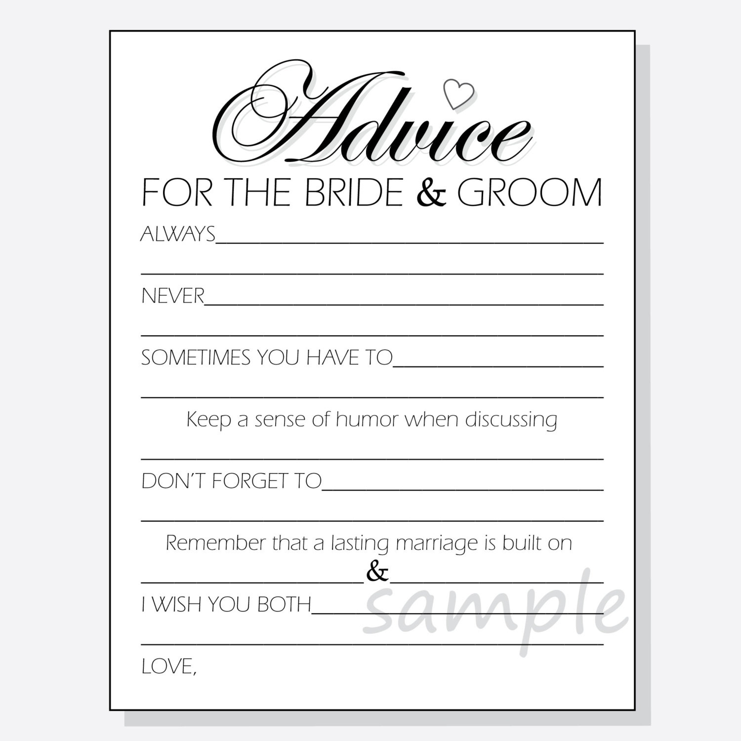 Diy Advice For The Bride & Groom Printable Cards For A Shower | Etsy - Free Printable Bridal Shower Advice Cards