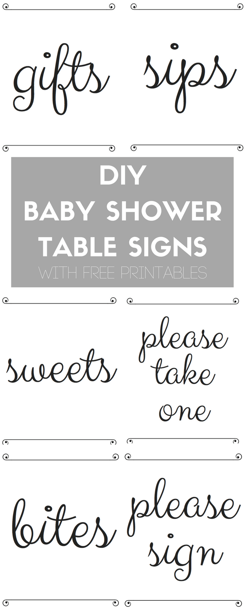 Diy Baby Shower Table Signs With Free Printables | Best Of The Blog - Free Baby Shower Printables Decorations