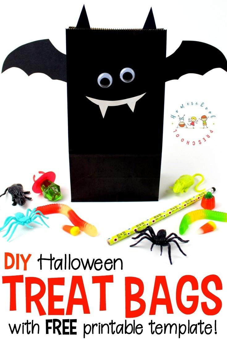 Diy Bat Halloween Treat Bags With Printable Template - Free Printable Trick Or Treat Bags