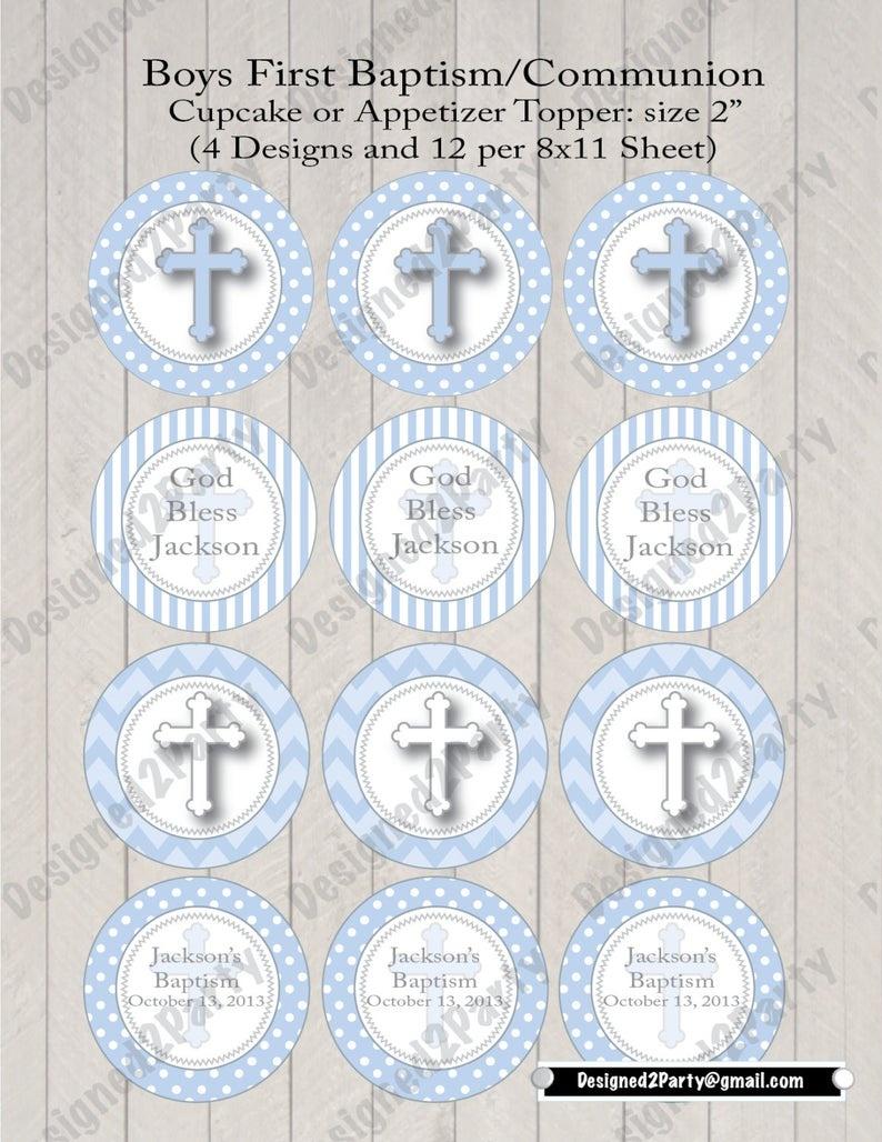 Diy Boys First Communion Printable Or Baptism Cupcake Topper | Etsy - Baptism Cupcake Toppers Printable Free