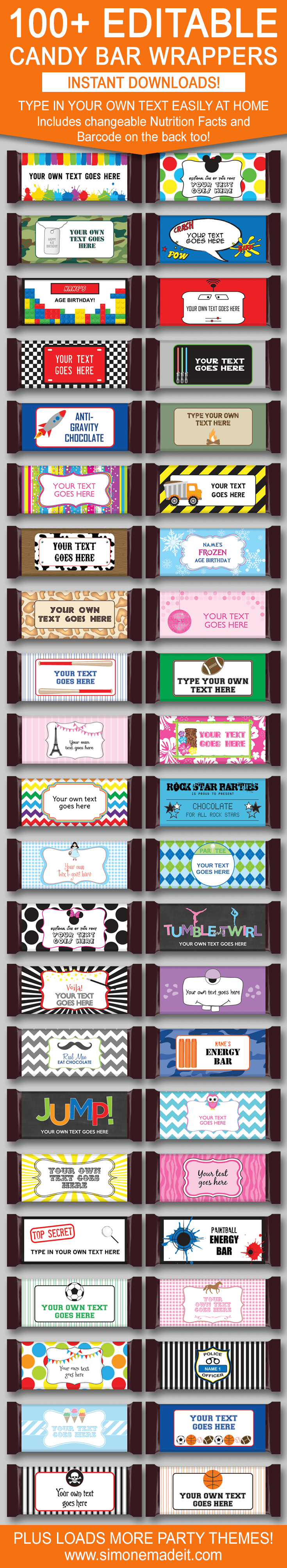 Diy Candy Bar Wrapper Templates – Personalized Candy Bars | Candy - Free Printable Birthday Candy Bar Wrappers