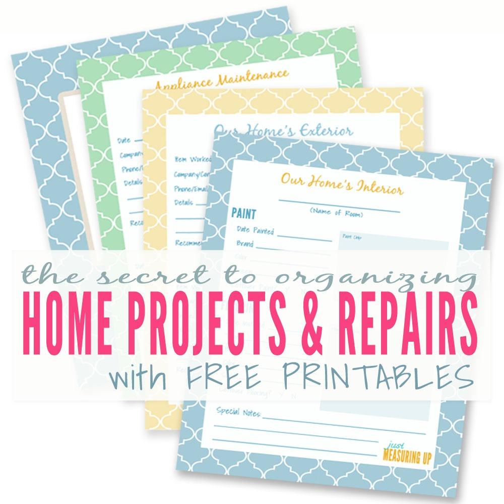 Diy Home Improvement Printables | Keeping A Master Binder Of Home - Free Home Organization Printables
