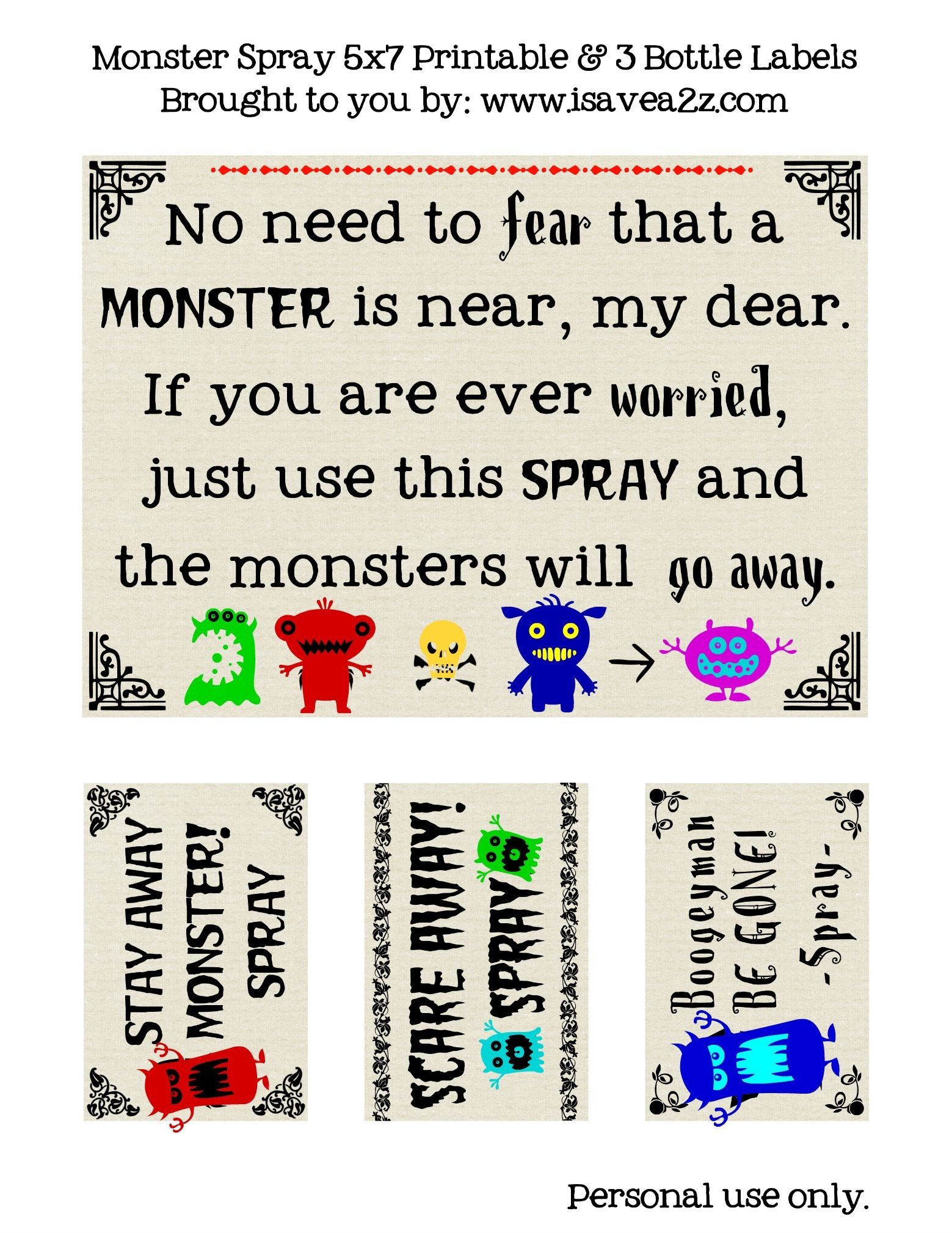 "Diy Monster ""go Away"" Spray (Printables Included) 