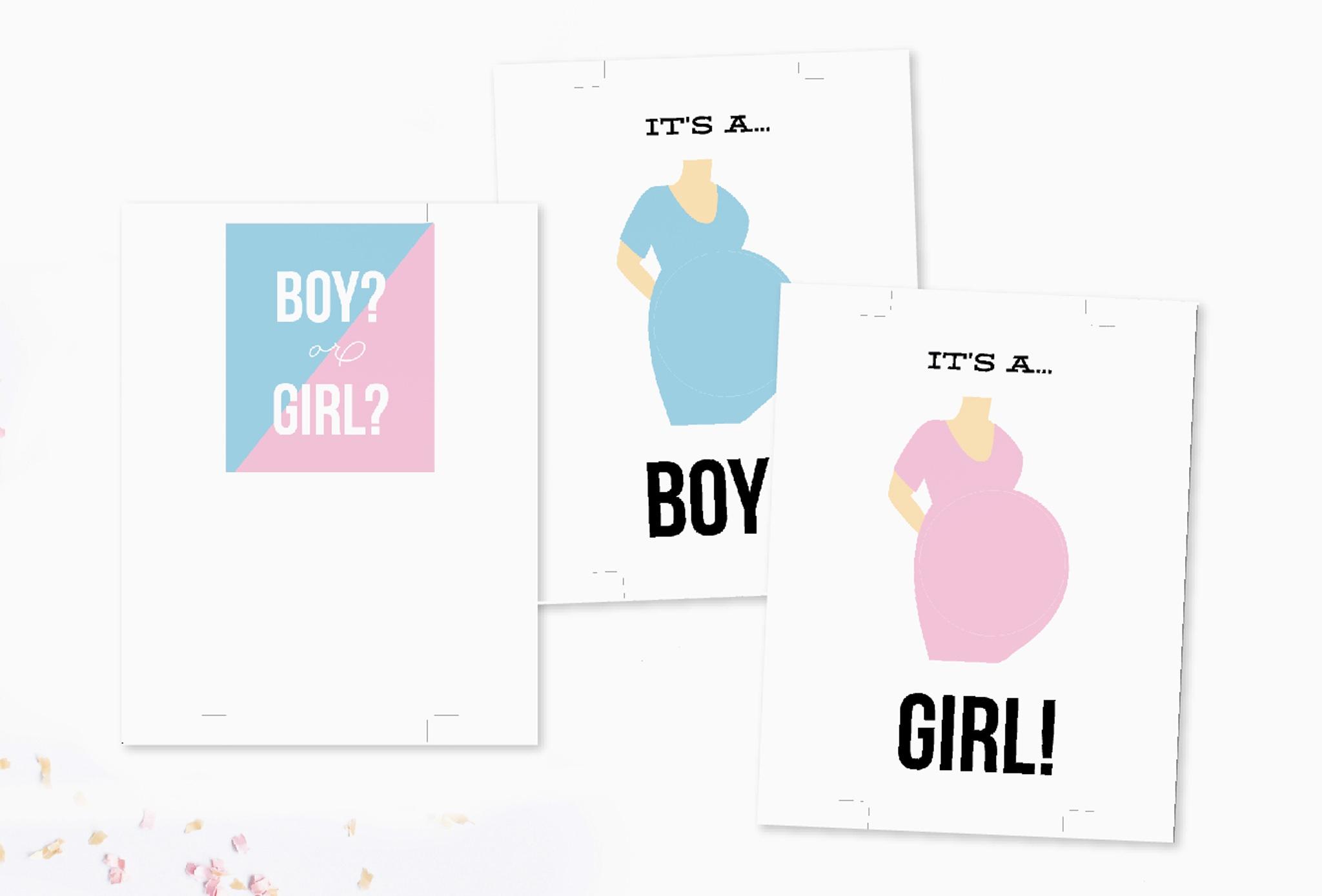 Diy Pop-Up Gender Reveal Card Free Printable - Free Gender Reveal Printables