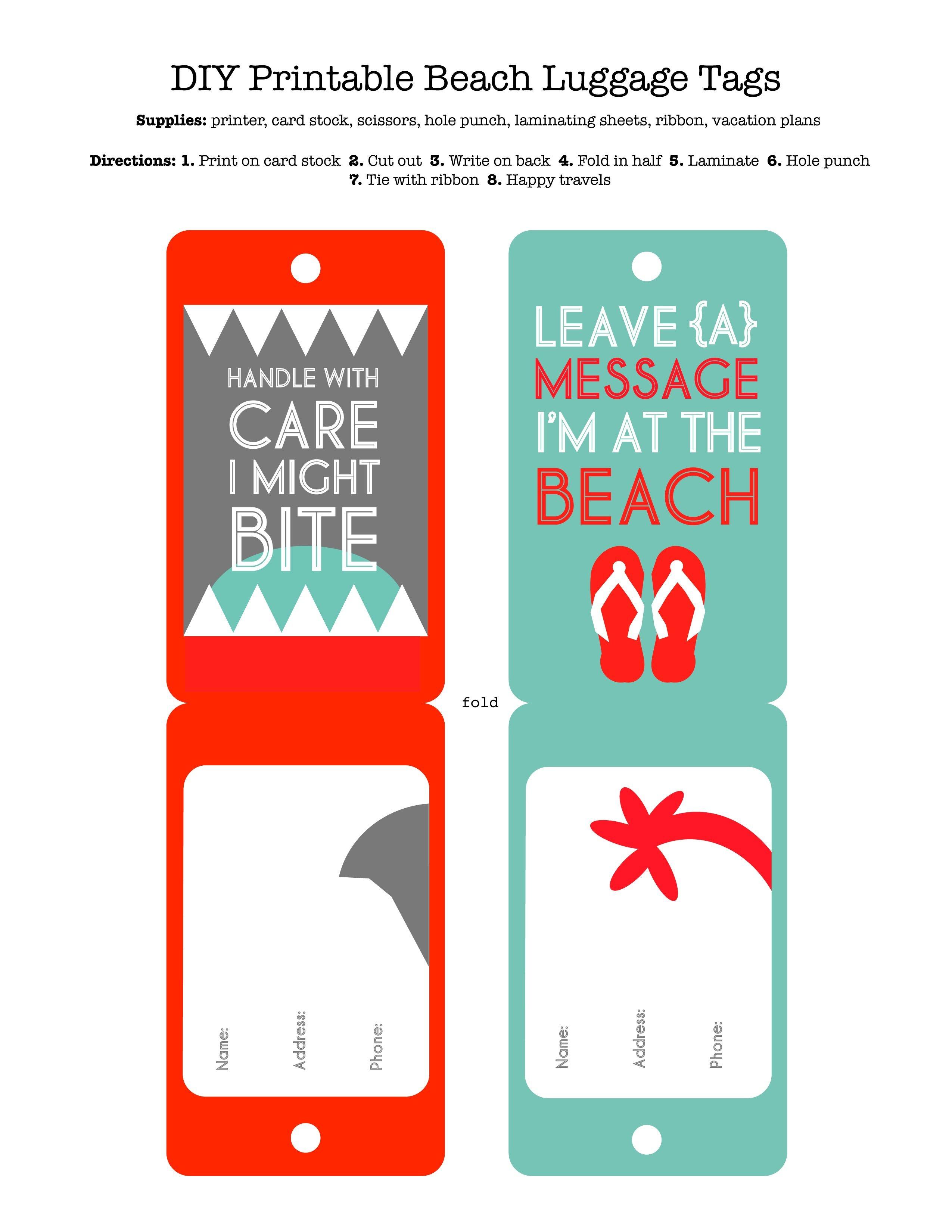 Diy Printable Beach Luggage Tags | Craft Ideas | Funny Luggage Tags - Free Printable Luggage Tags