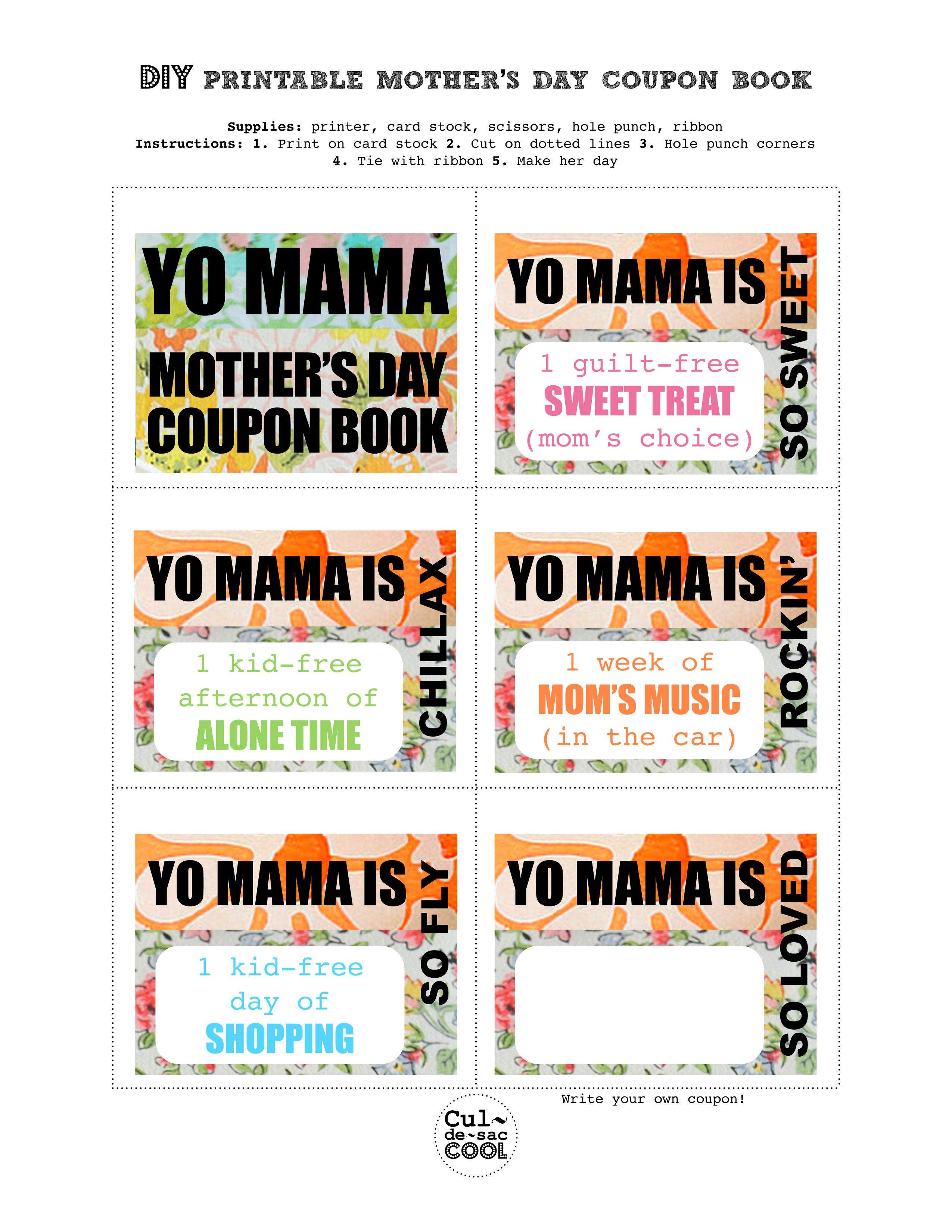 Diy Printable Mother's Day Coupon Book–'yo Mama' - Free Printable Homemade Coupon Book