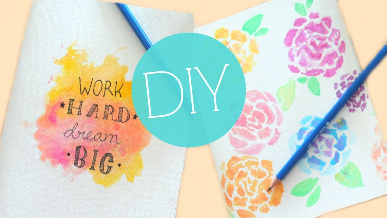 Diy Tumblr Watercolor Notebook/journal Cover | Easy Diy School - Free Printable Watercolor Notebook Covers