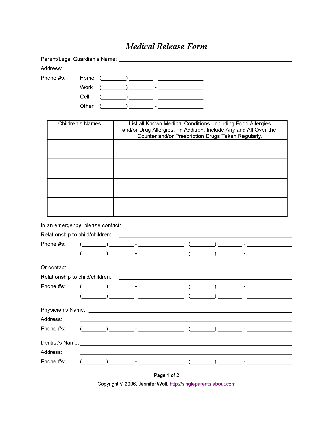 Do You Have A Medical Release Form For Your Kids? | Travel | Medical - Free Printable Caregiver Forms