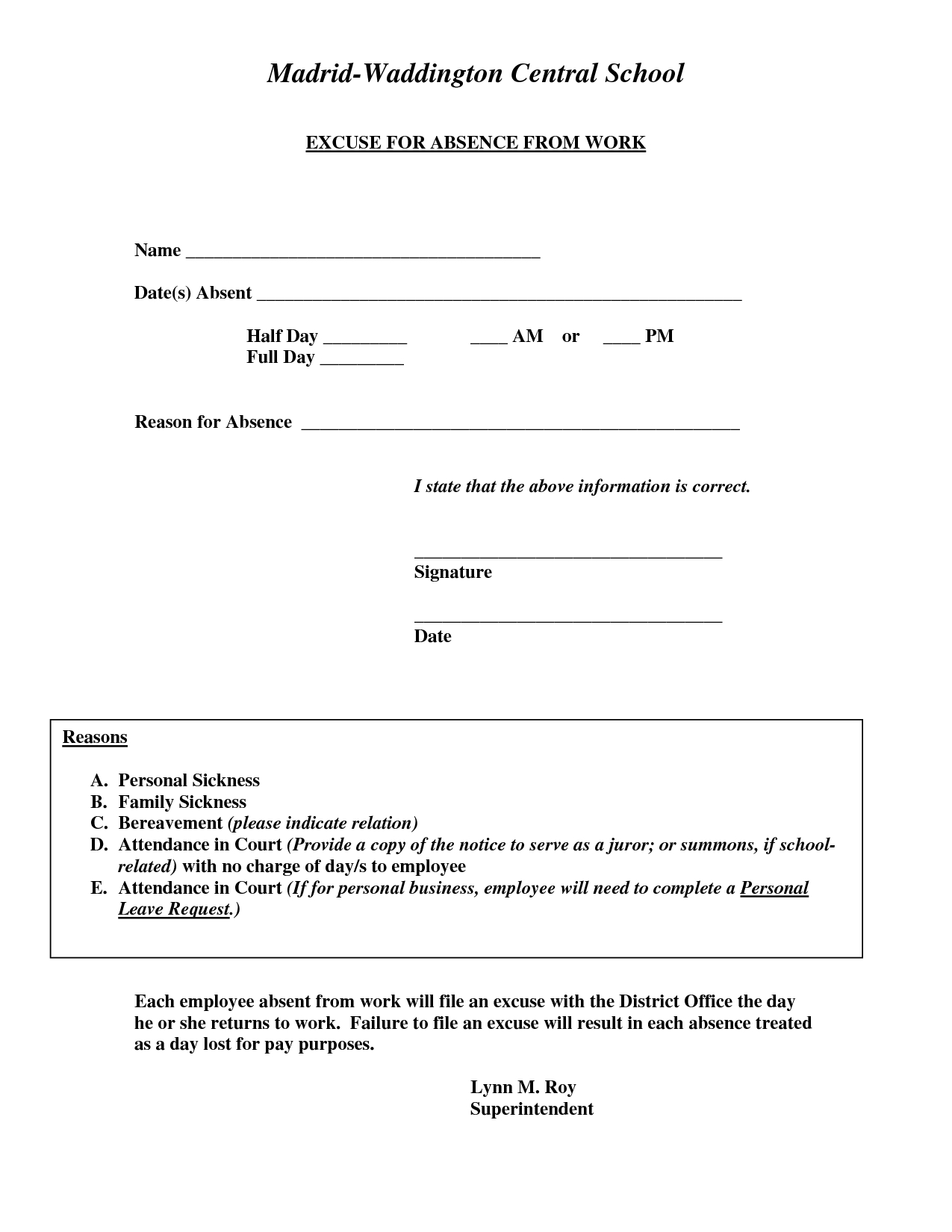 Doctors Excuse For Work Template | Excuse For Absence From Work - Free Printable Doctors Note