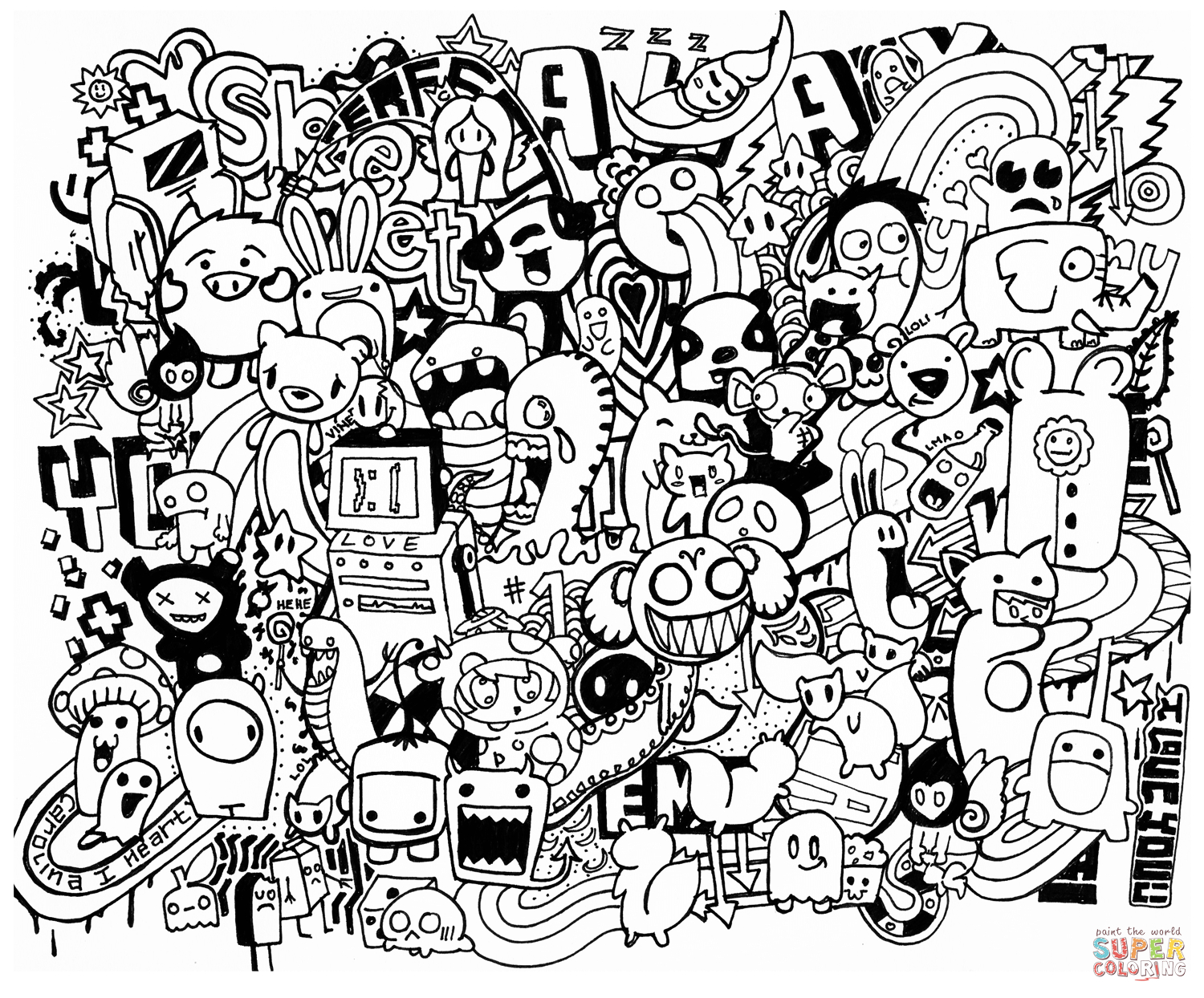 Doodle Mash Up Coloring Page   Free Printable Coloring Pages - Free Printable Doodle Art Coloring Pages