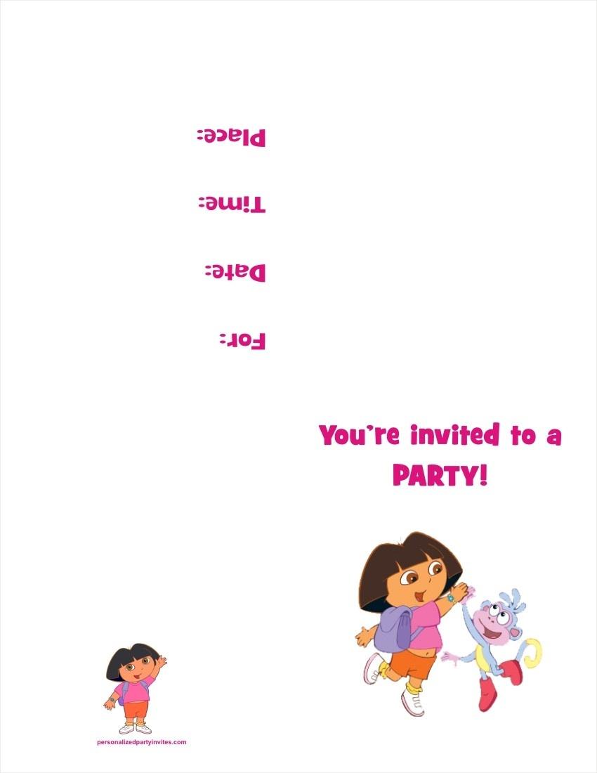 Dora The Explorer Free Printable Birthday Party Invitation - Free Dora Party Printables