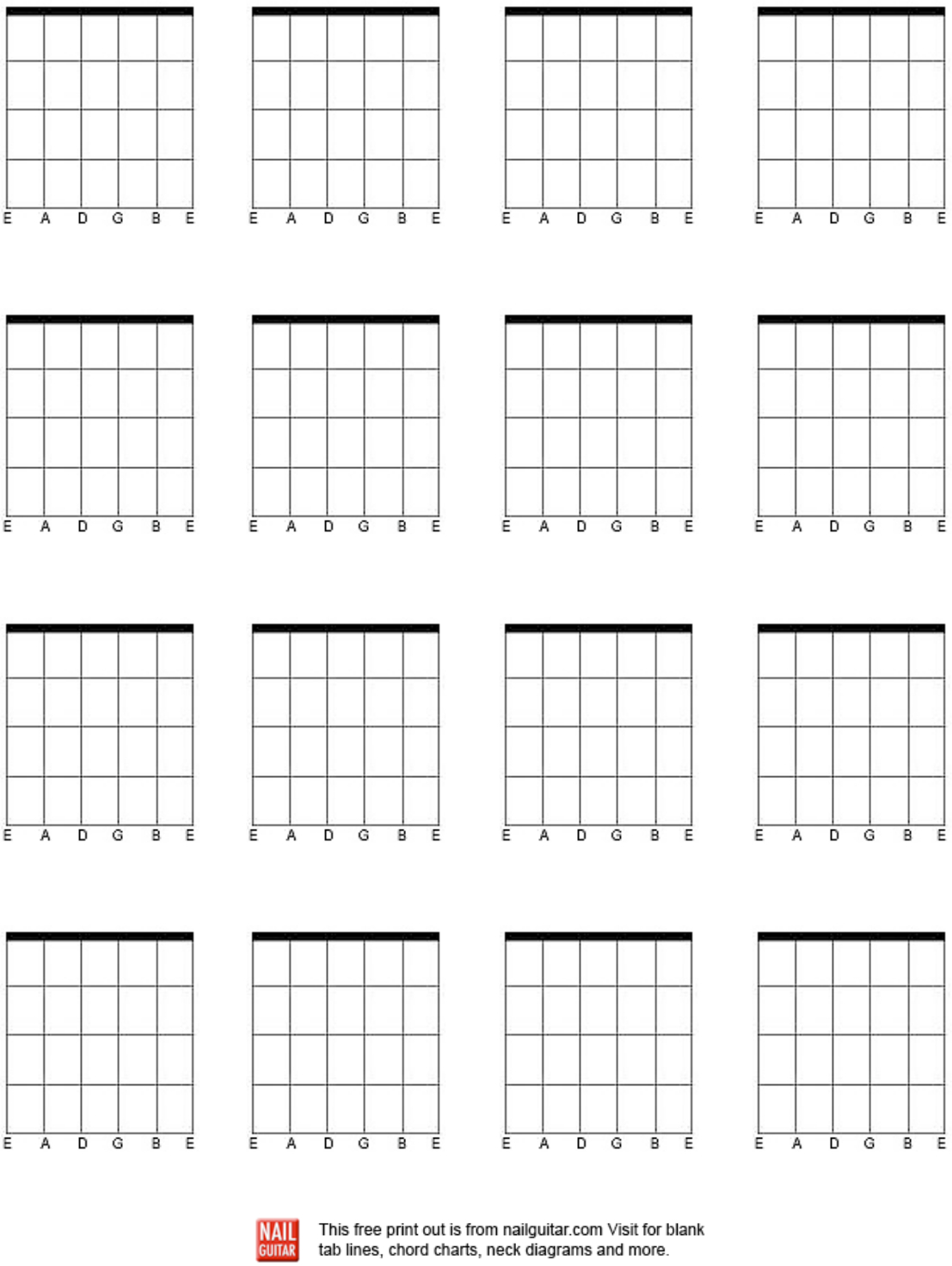 Download Blank Bass Guitar Chord Chart For Free - Formtemplate - Free Printable Blank Guitar Chord Charts