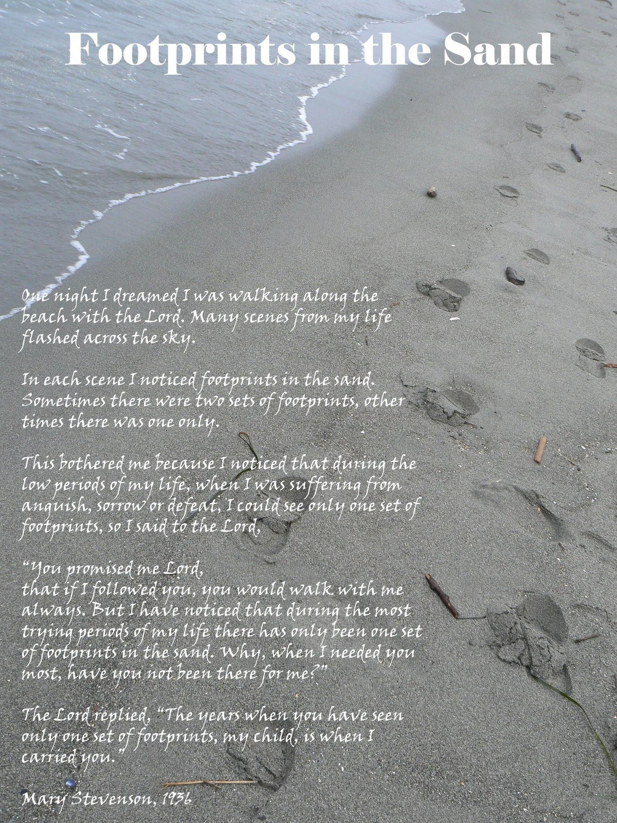 Download Footprints In The Sand Poem Printable Version Collection Of - Footprints In The Sand Printable Free