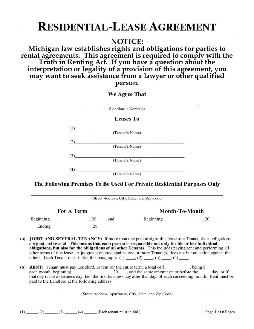 Download Free Michigan Residential Lease Agreement - Printable Lease - Free Printable Michigan Residential Lease Agreement