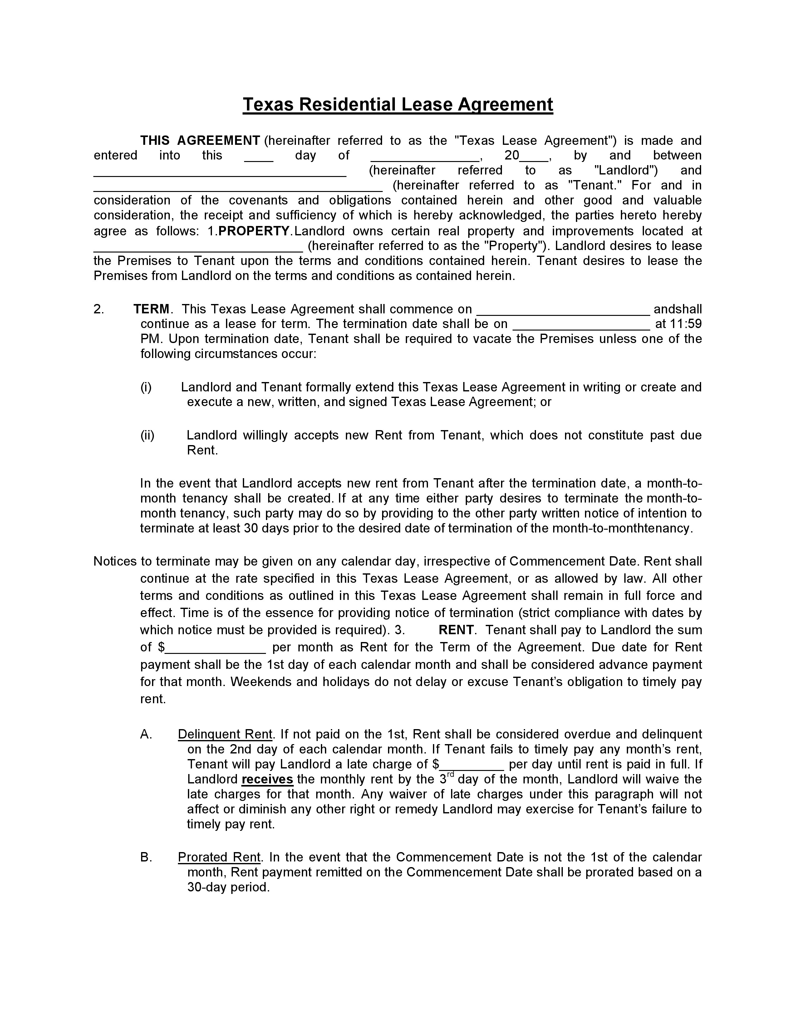 Download Free Texas Residential Lease Agreement - Printable Lease - Free Printable Lease Agreement Texas