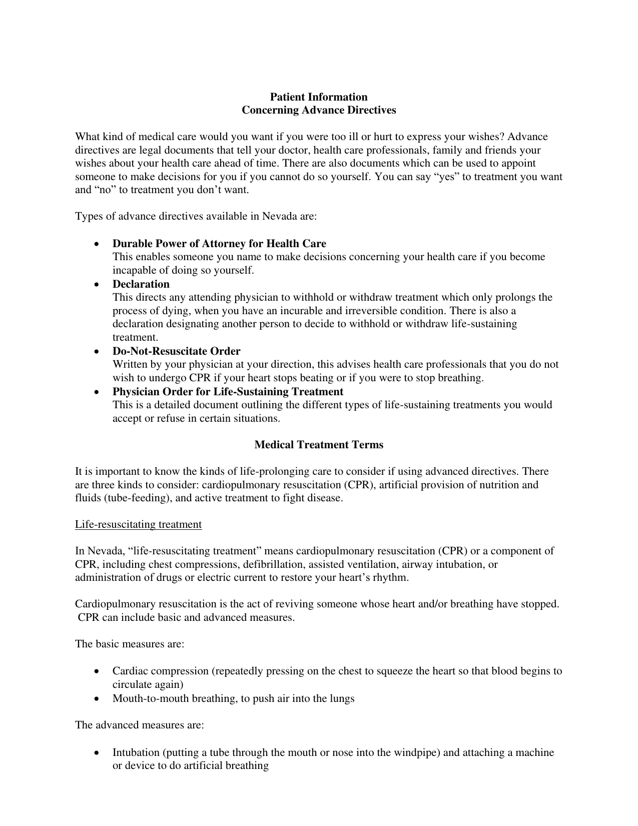 Download Nevada Living Will Form – Advance Directive   Pdf - Free Printable Advance Directive Form