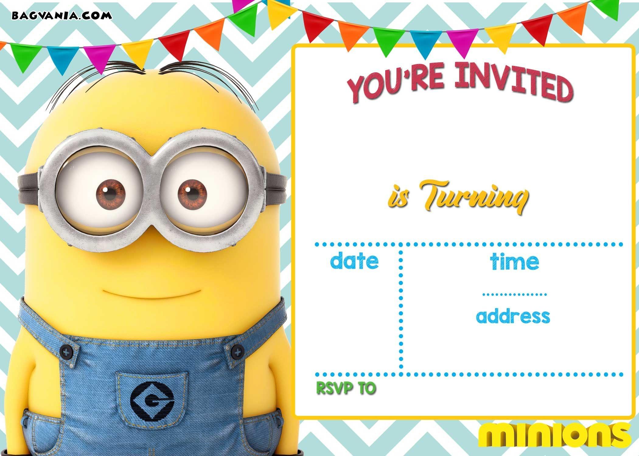 Download Now Free Printable Minion Birthday Invitation Templates - Printable Invitations Free No Download