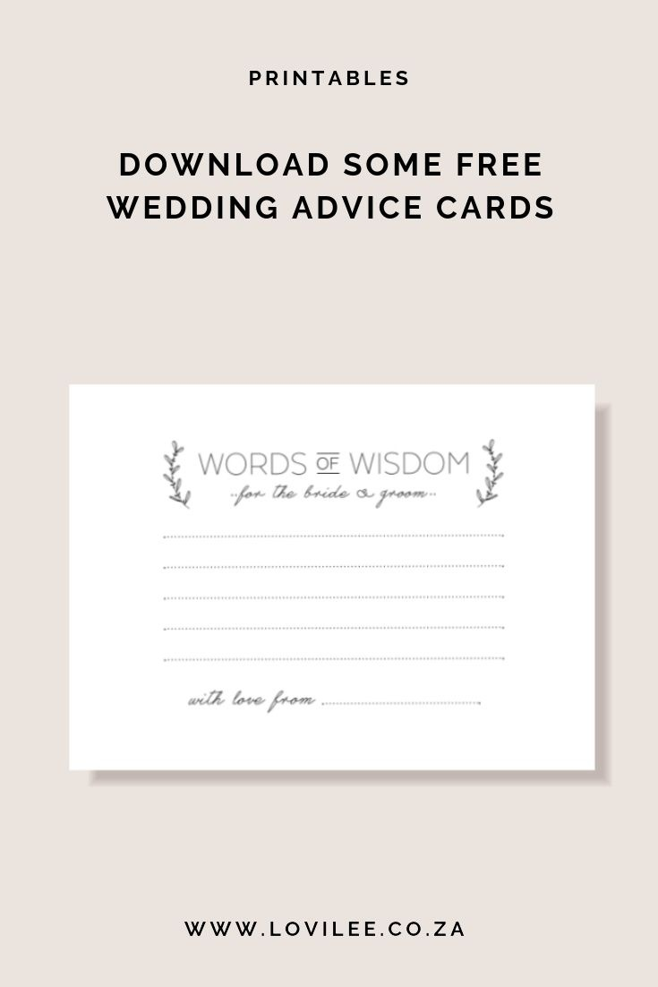 Download Your Free Wedding Advice Cards Printable | Free Printables - Free Printable Bridal Shower Advice Cards