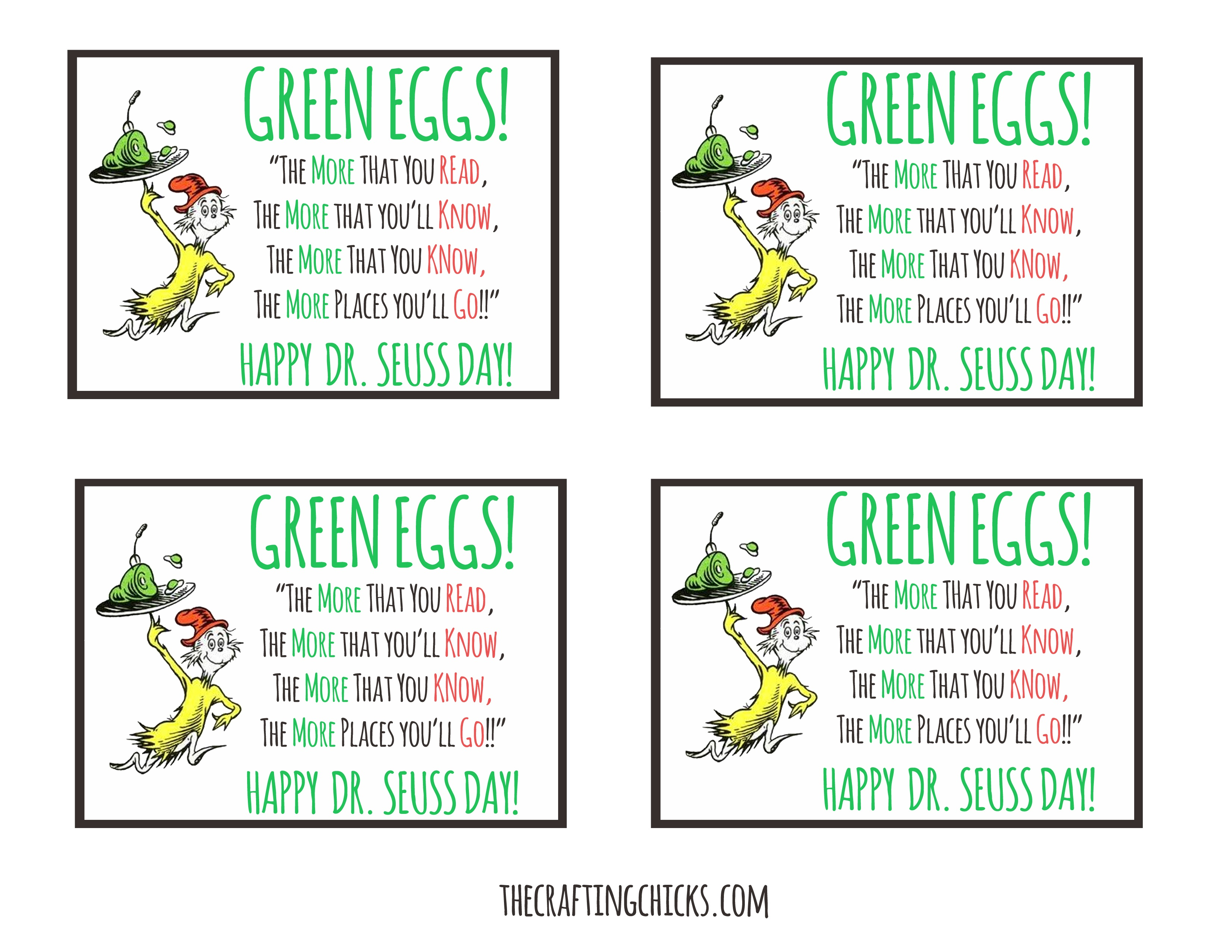Dr. Seuss Green Eggs Tag *free Printable - Green Eggs And Ham Free Printables