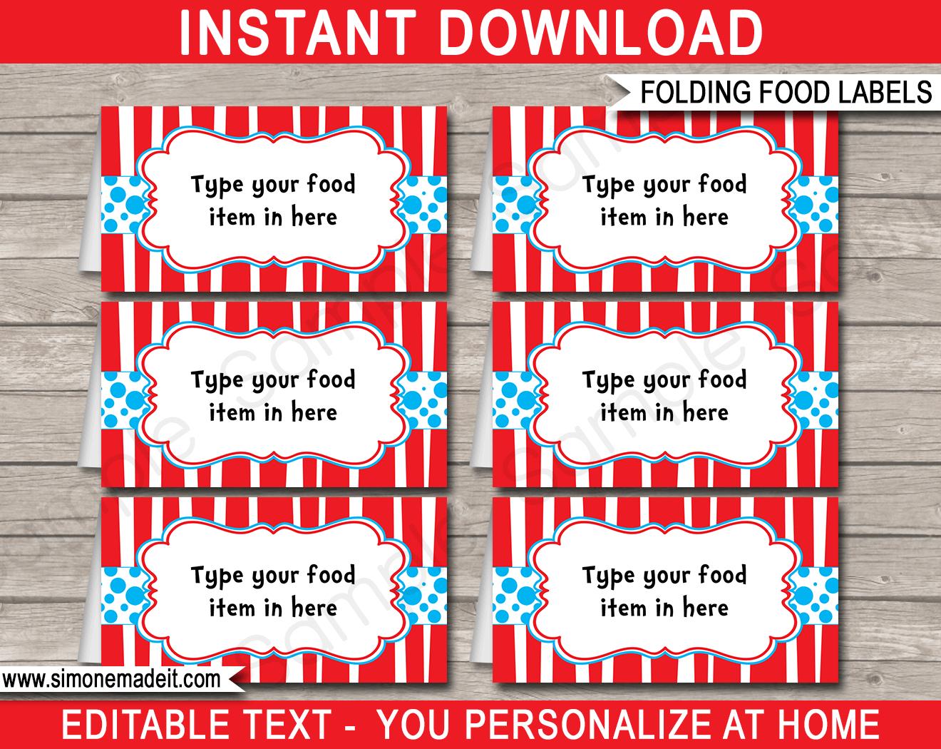 Dr Seuss Party Food Labels | Place Cards | Dr Seuss Theme Party - Dr Seuss Free Printable Templates