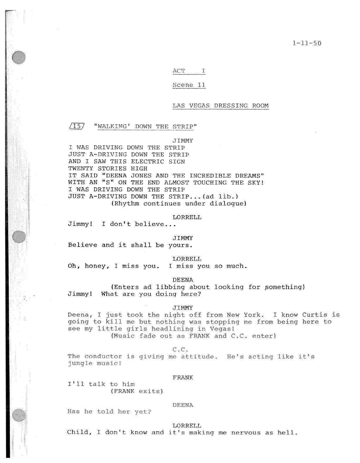 Dreamgirls - Script - Documents | Fgcgythy | Script Y Musicals - Free Printable Musical Scripts