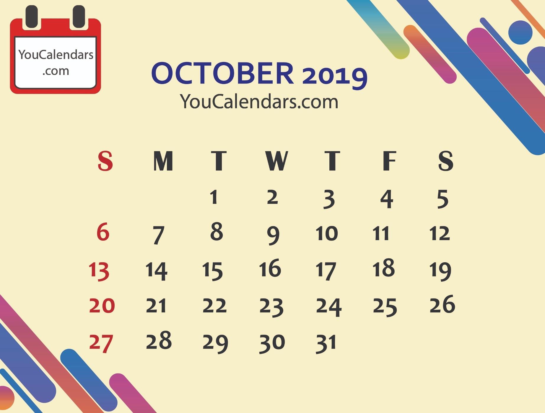 ✅Free October 2019 Calendar Printable Template - You Calendars - Free October Printables